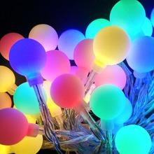 YIYANG 10 M 100 piłka Multicolor boże narodzenie LED String światła 110 V 220 V IP44 na zewnątrz ślub Party wakacje światła dekoracyjne luces tanie tanio 1-5 w M Brak Przycisk komórki Rohs Z tworzywa sztucznego Żarówki led Klin 2 lata życia 51-100 głowy Salon Ball Led string lights