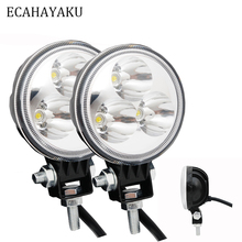 цена на ECAHAYAKU 2x 3 inch LED Work Light bar 9W 12V Offroad Light Round spot Flood beam led bar for Boat ATV SUV truck utv motorcycle
