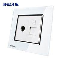 WELAIK Freeshipping Crystal Glass Panel 1Frame EU White Black Wall Socket TV Computer Socket A18TVCOW B