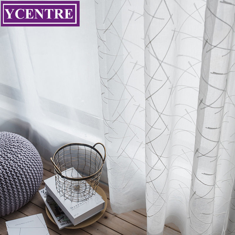 YCENTRE Semi Simple And Fresh Line Embroidery Window Treatment Leaves Style Tulle Sheer Curtain for Living Room/Kitchen/Bedroom