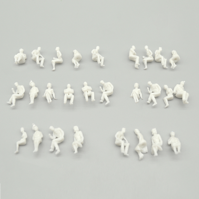 sitting figure seated miniature white people Architectural model human scale ABS plastic peoples 1