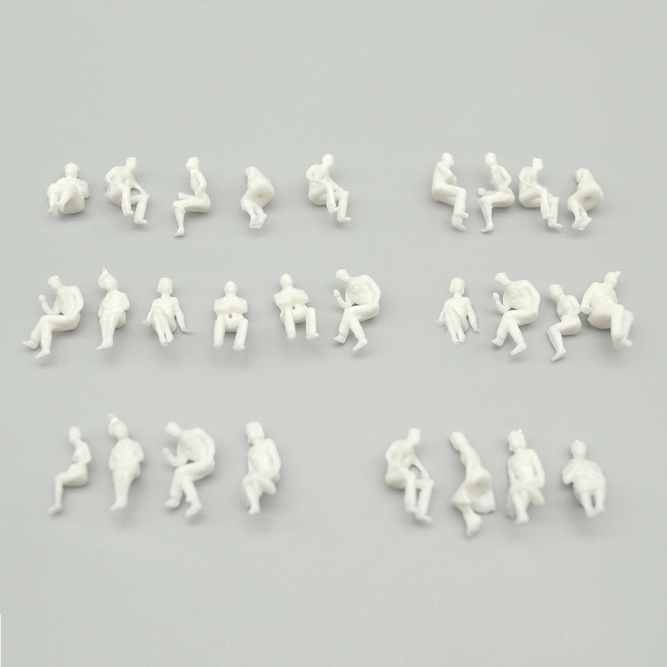 100pcs 1/100 Scale All Sitting Miniature White People Figures Architectural Model Human Scale ABS Plastic Peoples