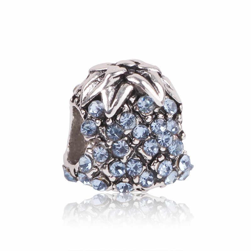 Couqcy estilo Simple gran bola estrellas flores de cristal Diy cuenta Ajuste Original Pandora encantos pulsera de plata joyería de la baratija de las mujeres