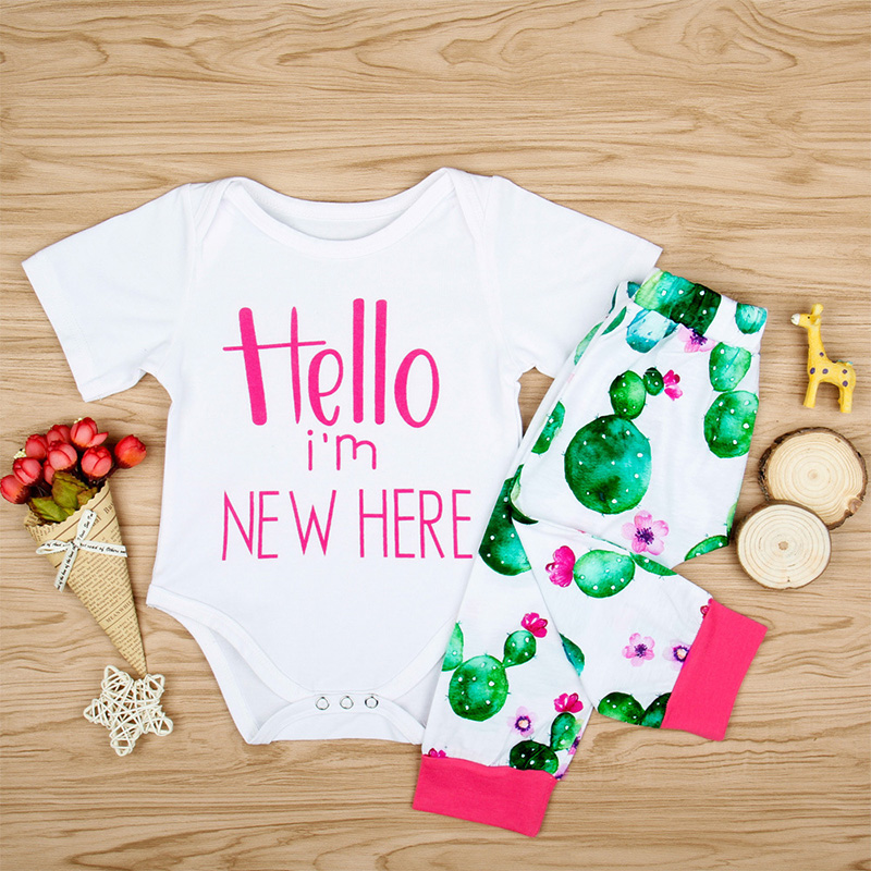 2018 Newborn Baby Girl Clothes White Short Sleeves Bodysuit Cactus Print Pants 2PCS Clothing Sets Funny Hello NEW HERE Letter