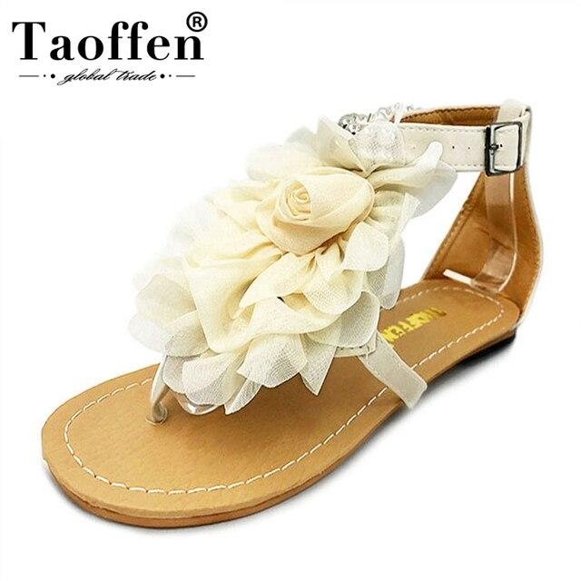 TAOFFEN size 34-43 Women Sandals Bohemia Beaded Summer Flower Flat Heels Flip Flops Women's Shoes Tstraps Sandals PA00903