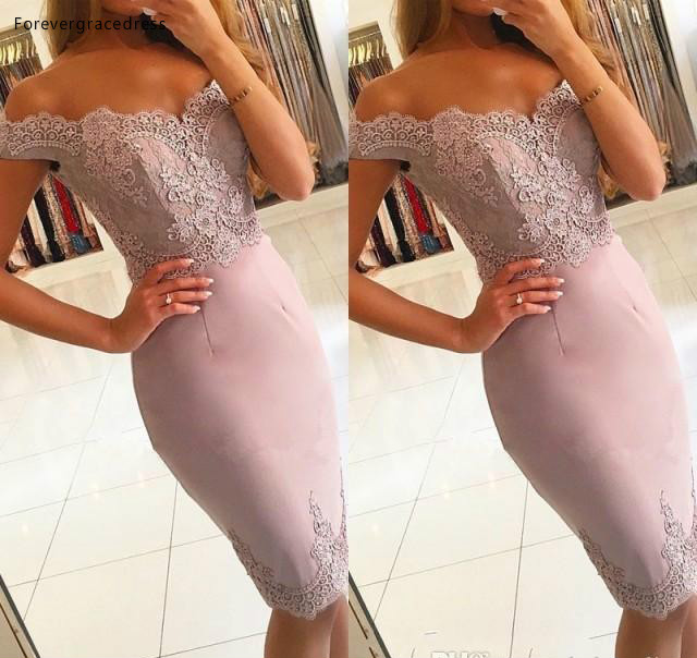 2019 Cheap Sheath   Cocktail     Dress   Dusty Rose Pink Knee Length Bodycon Formal Club Wear Evening Prom Party Gown Plus Size