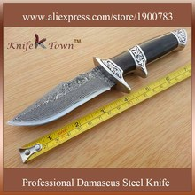 DT063 real knife damascus balde camping knife wood handle high quality outdoor hunting knife