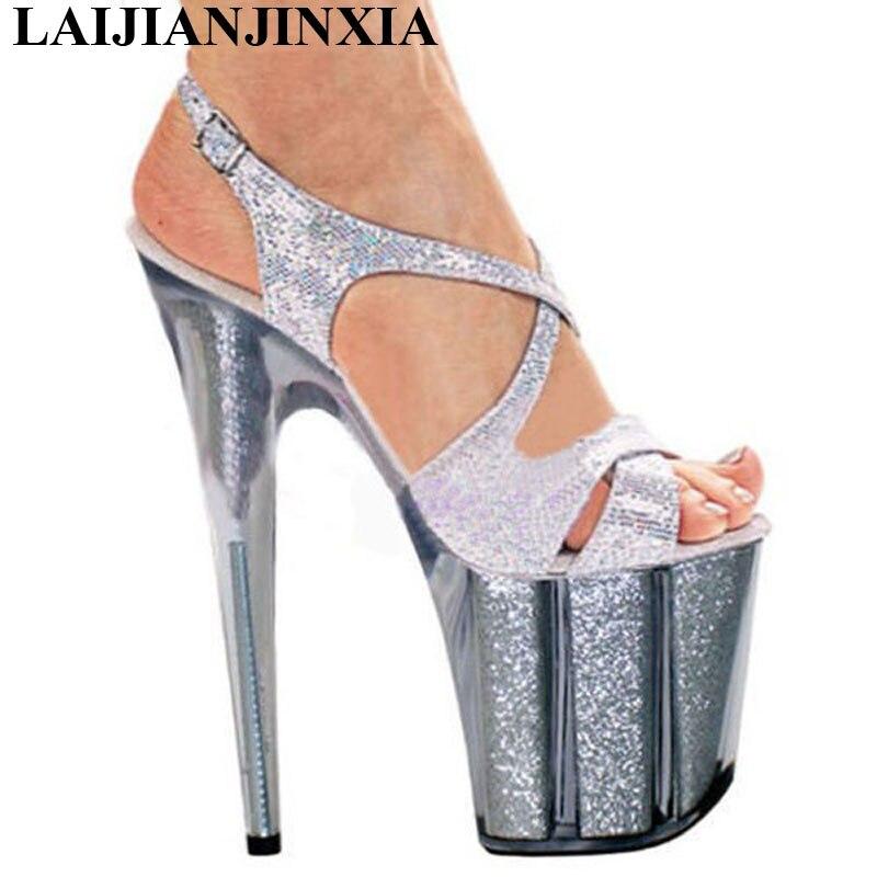 LAIJIANJINXIA Sexy Pole Dancing Shoes 20 CM High Heels Shoes 10 CM Platform Thin Heels Sandals Model Dance Shoes E-128