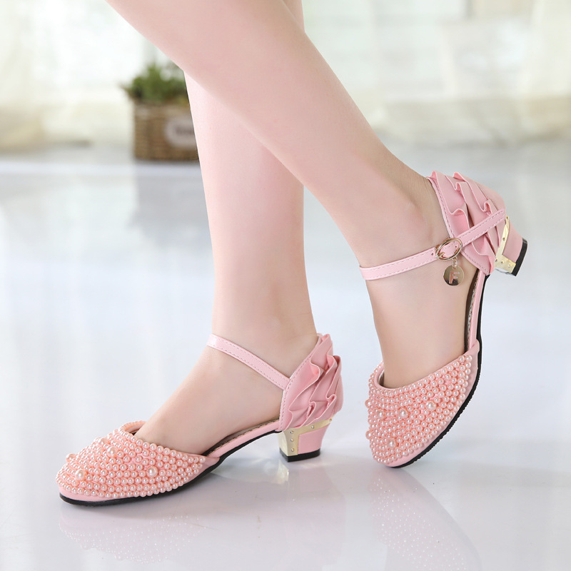 Summer Girls High Heels Sandals for Kids Pearl Princess Sandals Children Fashion Soft Leather Dance Shoes Wedding Party Dress цена 2017