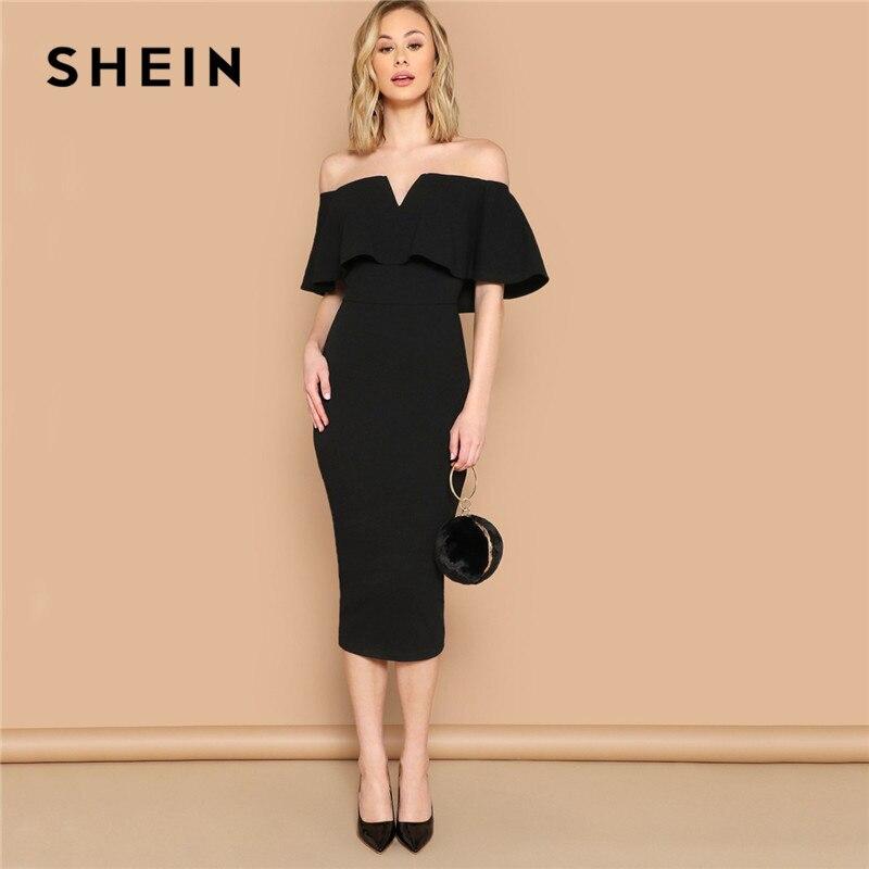 SHEIN Black Elegant Off The Shoulder Bodycon Dress Summer Women Short Sleeve Ruffle Trim Glamorous Solid Pencil Midi Party Dress