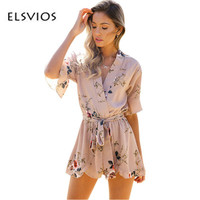 ELSVIOS 2017 Rompers Jumpsuit BOHO Red Floral Print Ruffles Playsuits Female Chest Wrapped Strapless Playsuit Macacao