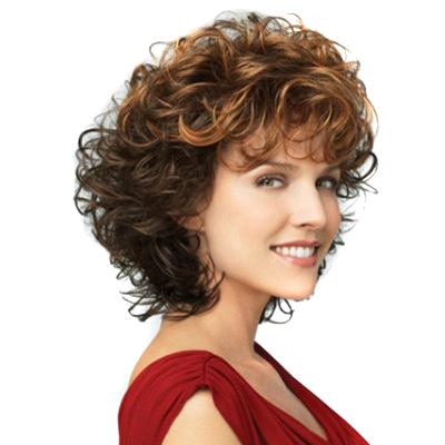 how to style short puffy hair brown two colors mixed tight curly wigs heat 7535 | Blonde Brown Two Colors Mixed Tight Curly Women Wigs Heat Resistant Puffy Synthetic Short Lady Wig