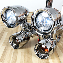Chrome Fairing Mounted Driving Lights&Smoked Turn Signals For Harley Touring Street Glide Road King Trike 1996 2013