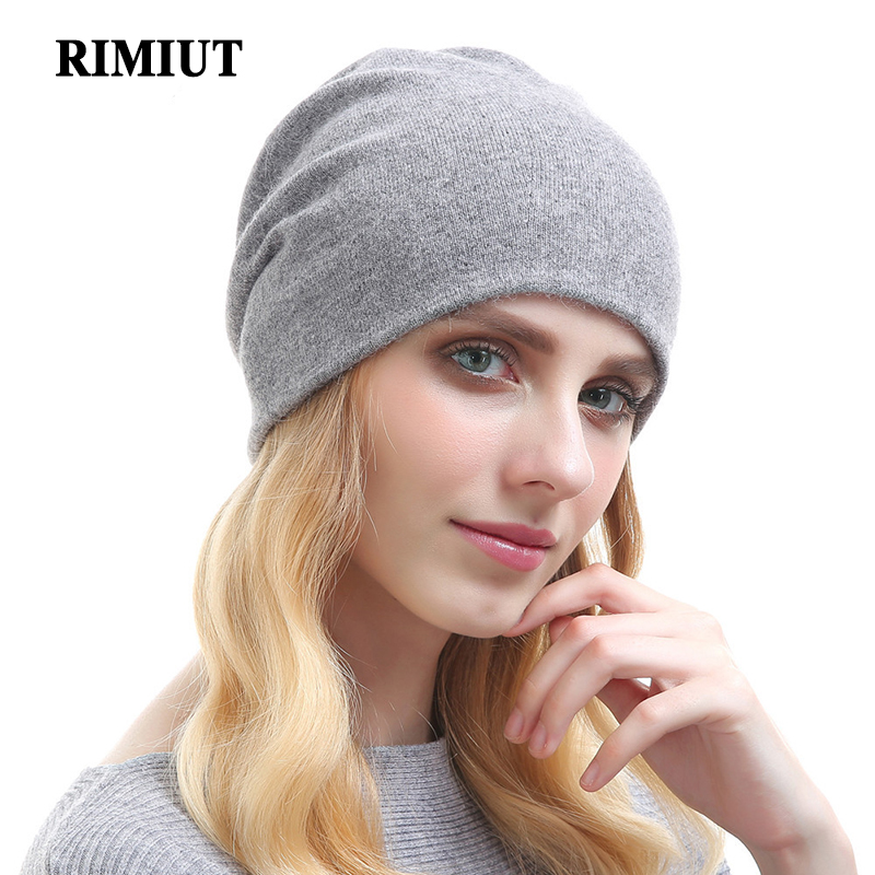 все цены на RIMIUT High Quality Wool Cashmere Women Fashion Autumn Winter Warm Skullies Beanie Hat Two Layers Knitted Lady Female Hats Cap онлайн