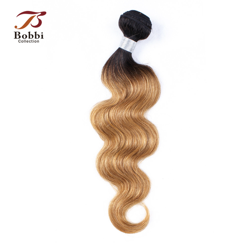 Bobbi Collection 1 Bundle Peruvian Body Wave T 1B 27 Ombre Honey Blonde Human Hair Pre-Colored Remy Hair Weave Bundles