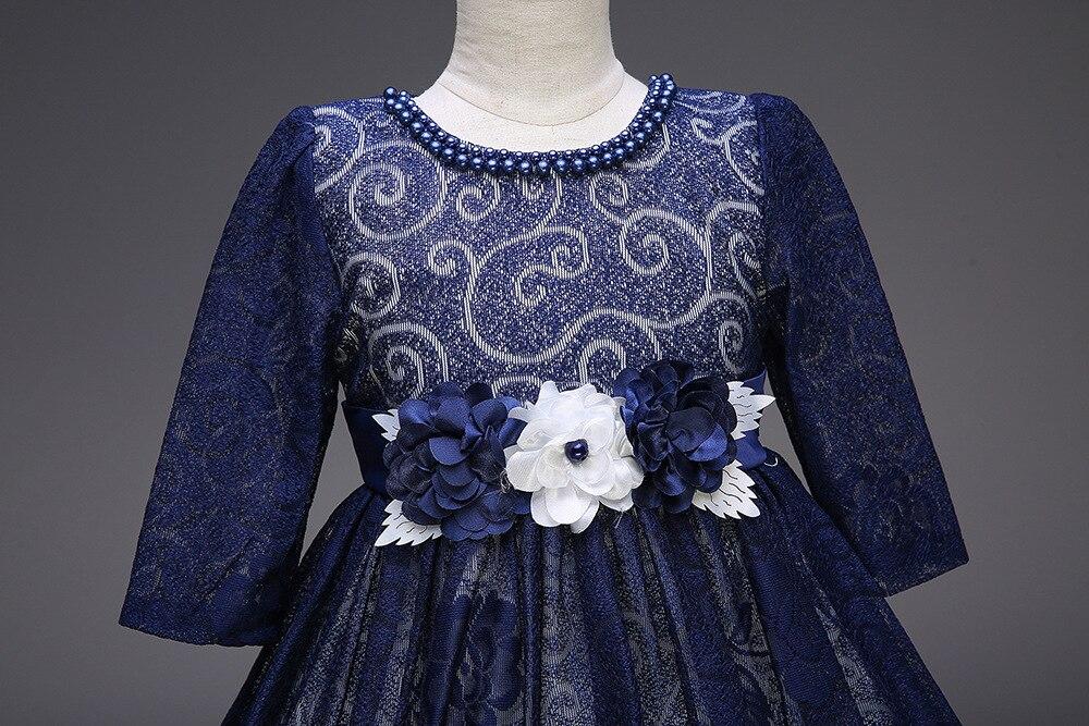 Fleur fille Boutique dentelle robe de mariée bébé fille élégante demi manches dentelle princesse Costume pour soirée bal de promo - 5