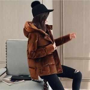 Image 2 - קטיפה באיכות גבוהה מזדמן קצר ברדס כותנה מרופדת עבה חורף מעיל Parka Loose נשים Manteau TT3618
