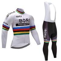 2017 Champion White BORA Cycling Jersey Pants Set Ropa Ciclismo Winter Thermal Fleece Windproof Cycling Wear