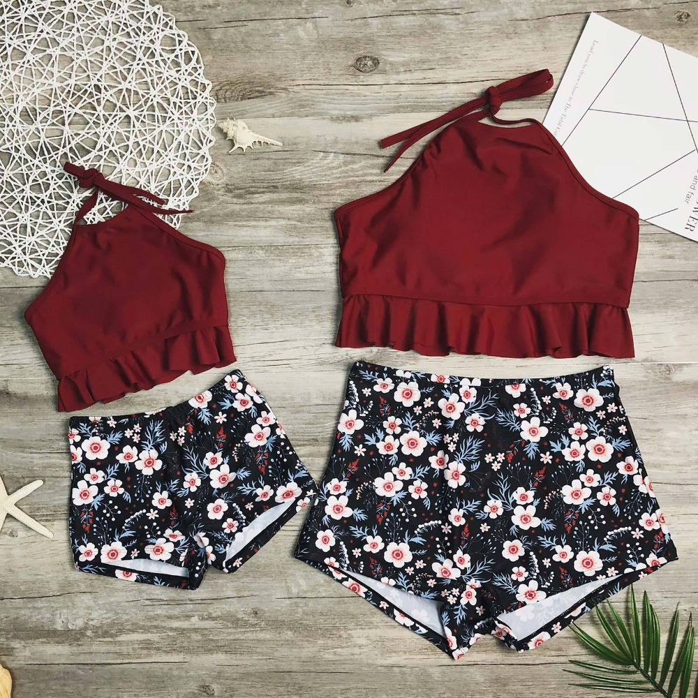 Mommy and Me Swimsuits Clothes Family Look Mother Daughter Swimwear Mom Mum and Girl Dresses High Waist Bikini Matching Outfits in Matching Family Outfits from Mother Kids