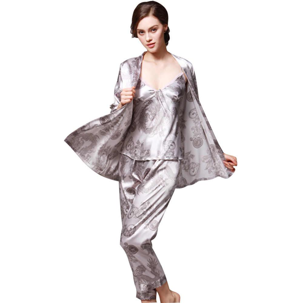 Annelik 3 Adet Pijama Saten Pijama Kadınlar için Zarif Kadın Seksi Dantel Her Mevsim Ipek Pijama Seti Ceket + yelek + Pantolon