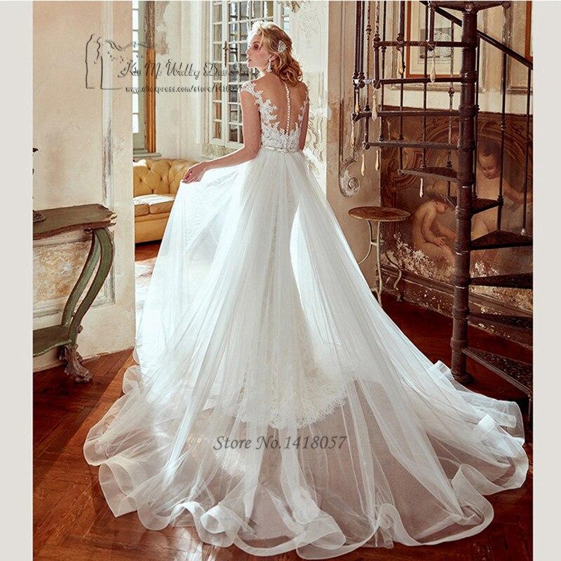 Griechischen Spitze Hochzeit Kleid mit Abnehmbarem Rock Mantel ...