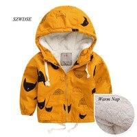 NIEUWE kinderen Herfst Winter warm hoodies kleding kids pizex winddicht tops jongen/meisjes kids windjack dikke kleding 2-8 jaar