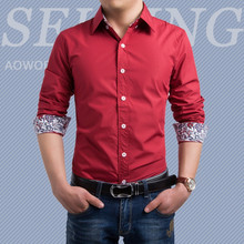 Brand New Men's Casual Shirt Social Solid Color Floral Details Shirt Full Sleeve Turn Down Collar
