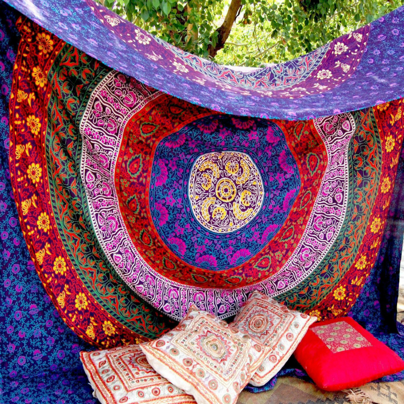 Retro Rectangular tapestry Indian Mandala Tapestry Hippie Wall Hanging Digital printing beach towels sunscreen square shawl