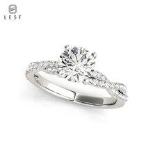 LESF 925 Sterling Silver Engagement Jewelry 1 ct Round Cut Shining Zircon Wedding Finger Rings For Women Size 456789 цена в Москве и Питере