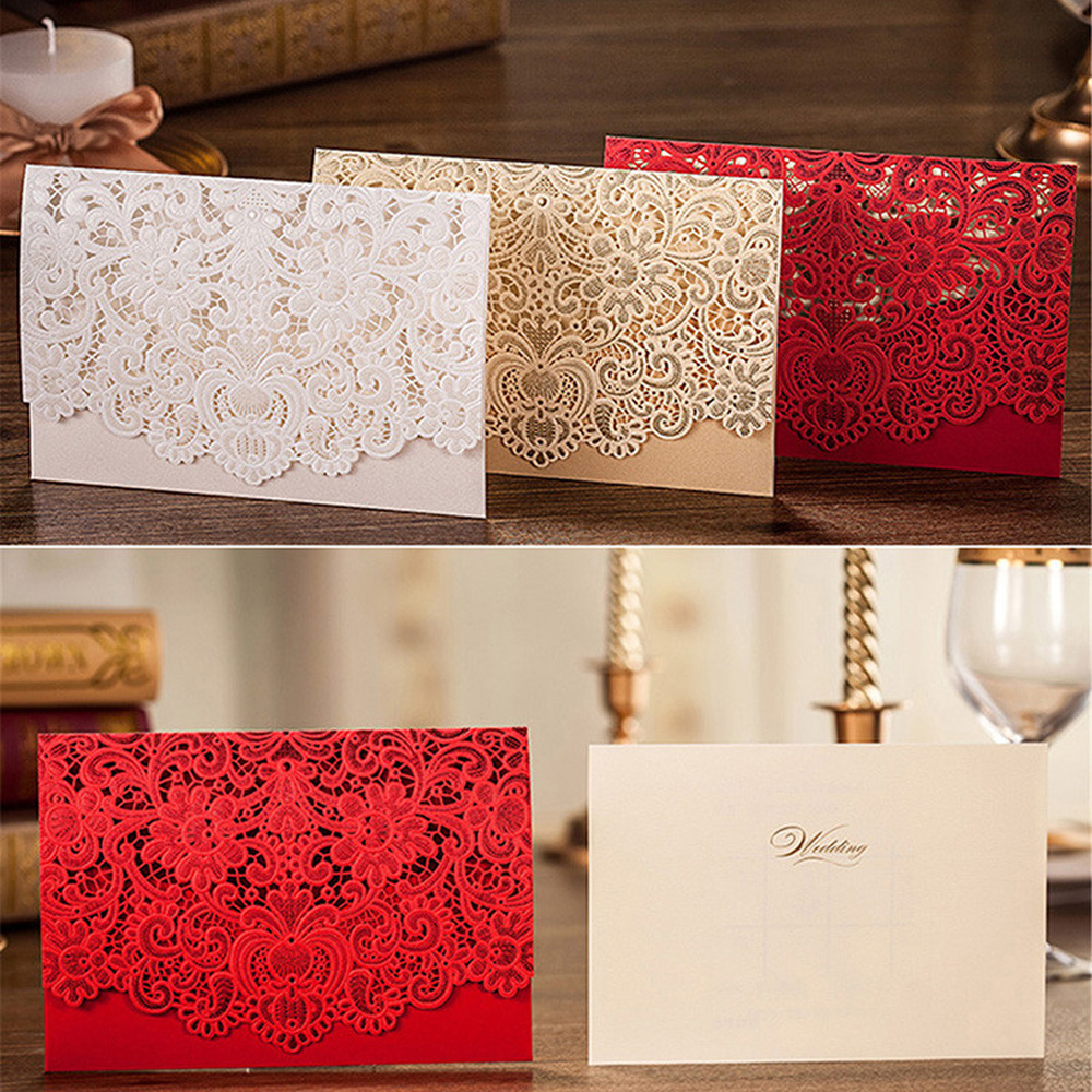 25pcs high quality embossment wedding invitation card red white gold with envelopes