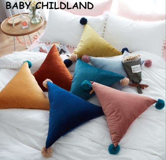 Decoração do quarto do bebê do algodão travesseiro bebê travesseiro decorar coisas triângulo bebê recém-nascido cama Almofada boneca Educacional