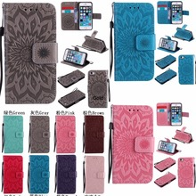 3D Embossing Sun Flower Flip Case For iPhone 5 5s 6 6s 7 8 Plus X Touch5 Wallet PU Leather Stand Cover Shockproof Phones Coque