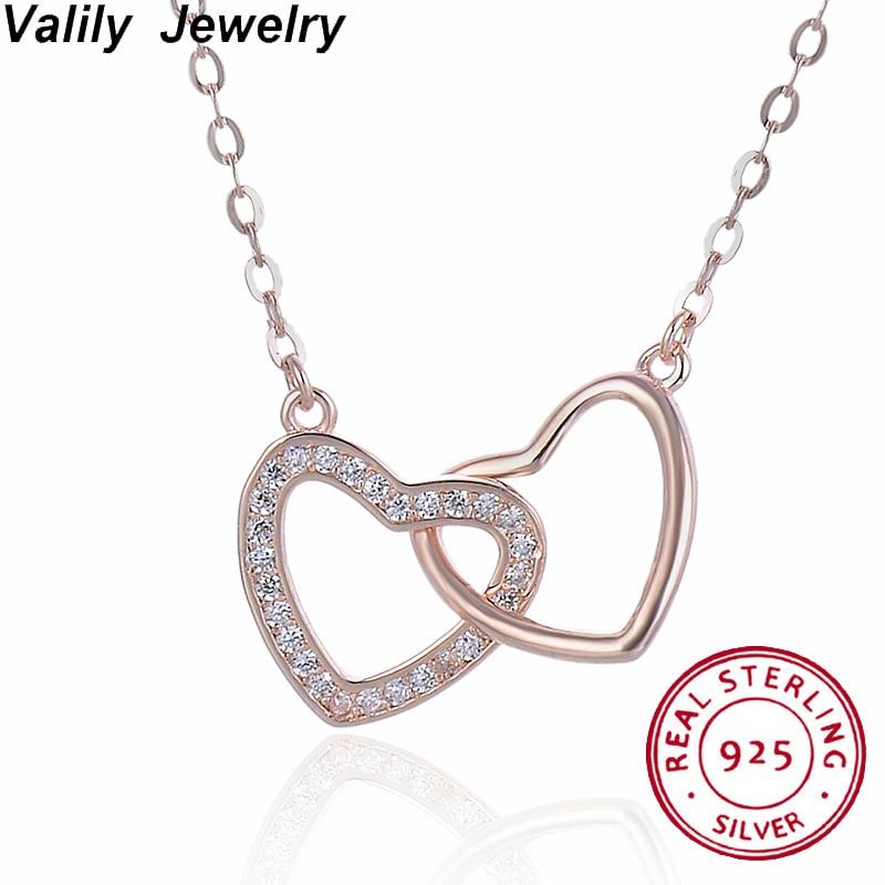 Valily Trendy Femmes Double Coeur Cristal 925 En Argent Sterling Colliers Bijoux pendentif coeur or rose Collier Pour Les Femmes Bijoux