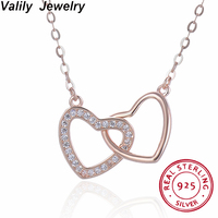 Valily Trendy Women Double Heart Crystal 925 Sterling Silver Necklaces Jewelry Rose Gold Heart Pendant Necklace For Women Bijoux