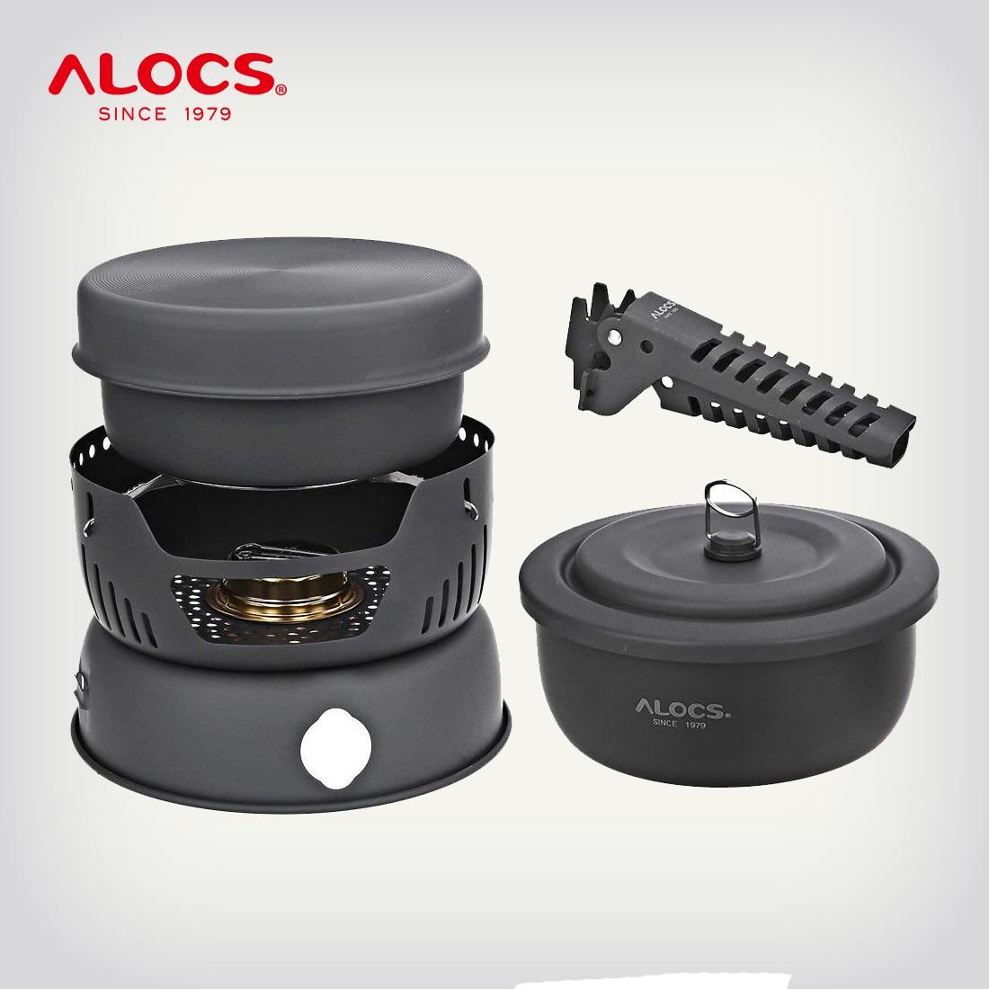 ALOCS CW-C05 Set 10 Pieces Outdoor Camping Hiking Picnic Cooking Set Utensil Spirit Stove Alcohol Burner Cooker Pot Windshield