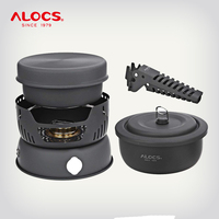 ALOCS CW C05 Set 10 Pieces Outdoor Camping Hiking Picnic Cooking Set Utensil Spirit Stove Alcohol Burner Cooker Pot Windshield