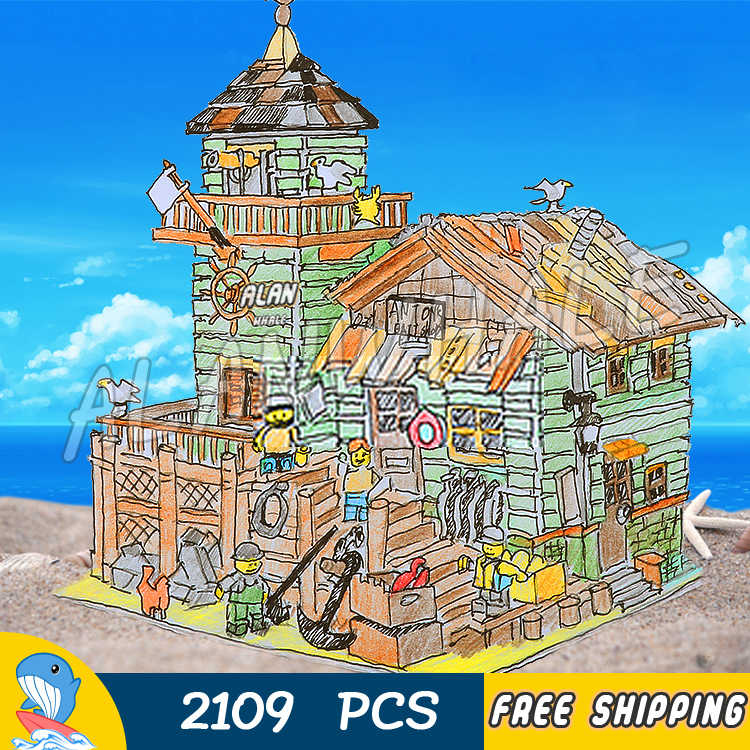 2109 Uds. Nueva casa de peces de dos capas de figura de playa de mar bloques de construcción juguetes de colección compatibles con