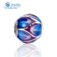 Charm Spacers Beads Enamel Heart Blue Colored Charms Silver 925 Bracelet Women European Beads GW Jewelry Making AMlD001CH20