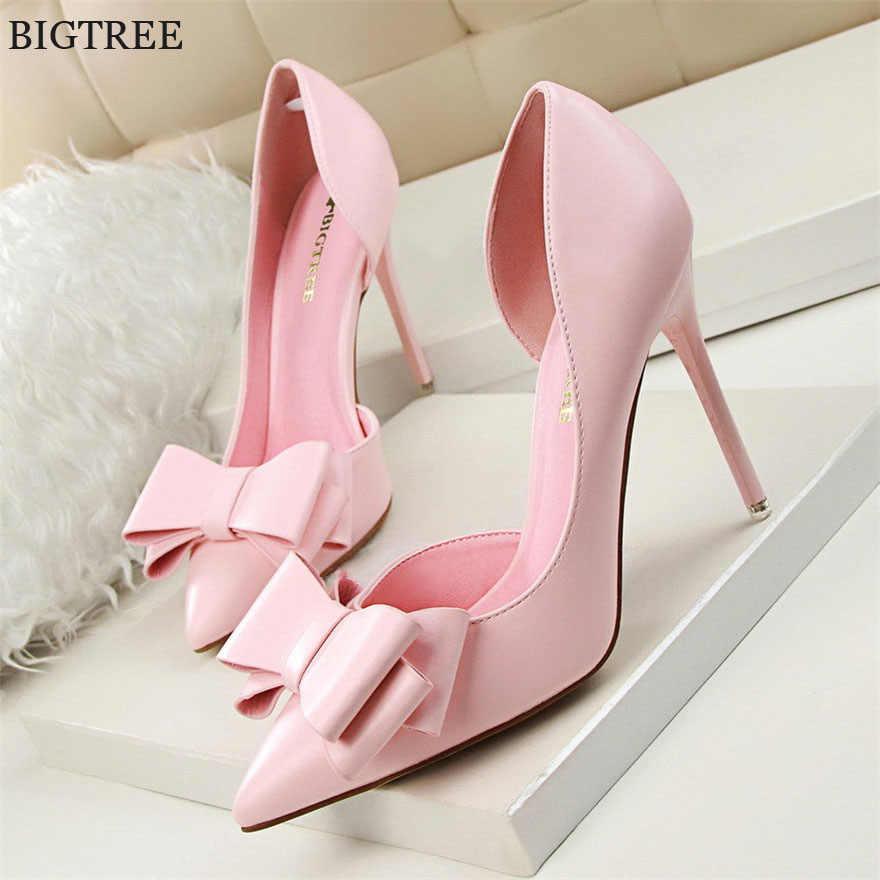 Bigtree moda feminina bombas sexy saltos altos sapatos de casamento apontou toe vestido sapatos femininos 2018 sapatos de salto feminino rosa 7 cores