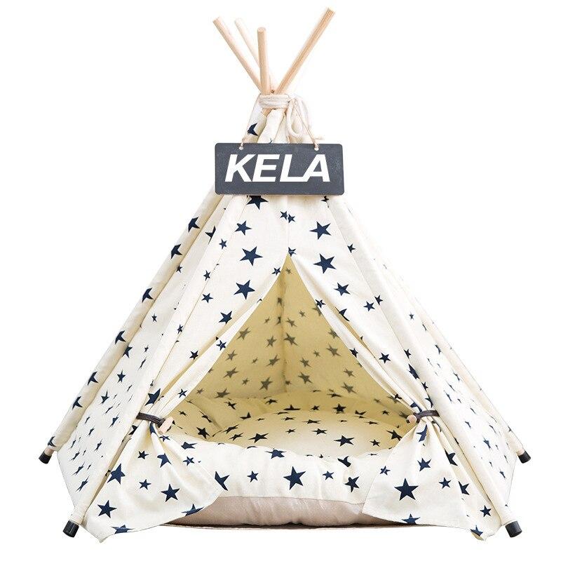 Image 4 - Jormel pet tenda cão cama gato brinquedo casa portátil lavável  animal de estimação teepee listra padrão moda 2019 não incluído  esteiraCasas, canis e canetas