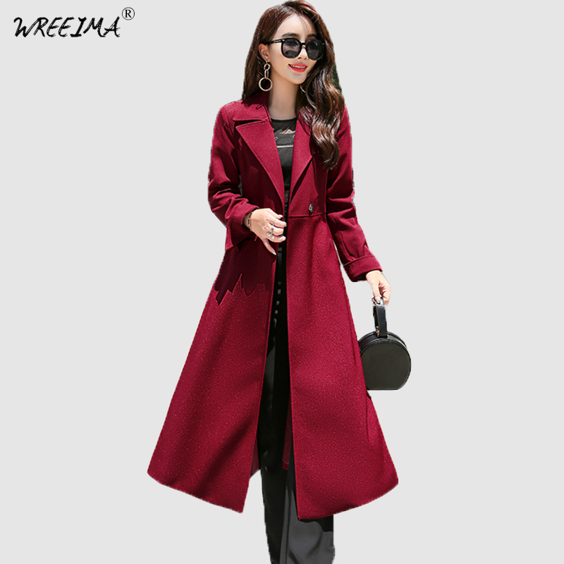2018 Autumn Women Long Trench Coat Ladies Casual Turn-down Collar Winter Coats Single Button Windbreaker Plus Size 3XL Overcoa