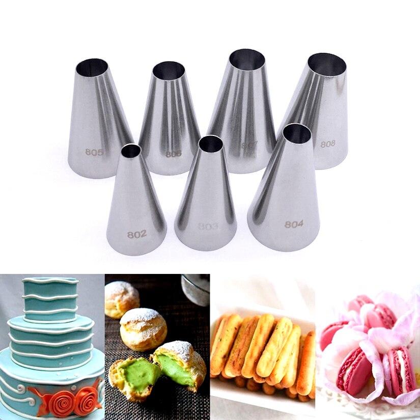 Round Tips Decorating Nozzle Seamless Icing Tube Pastry Tips Sets Fondant Cake Decorating Sugarcraft Tools Bakeware
