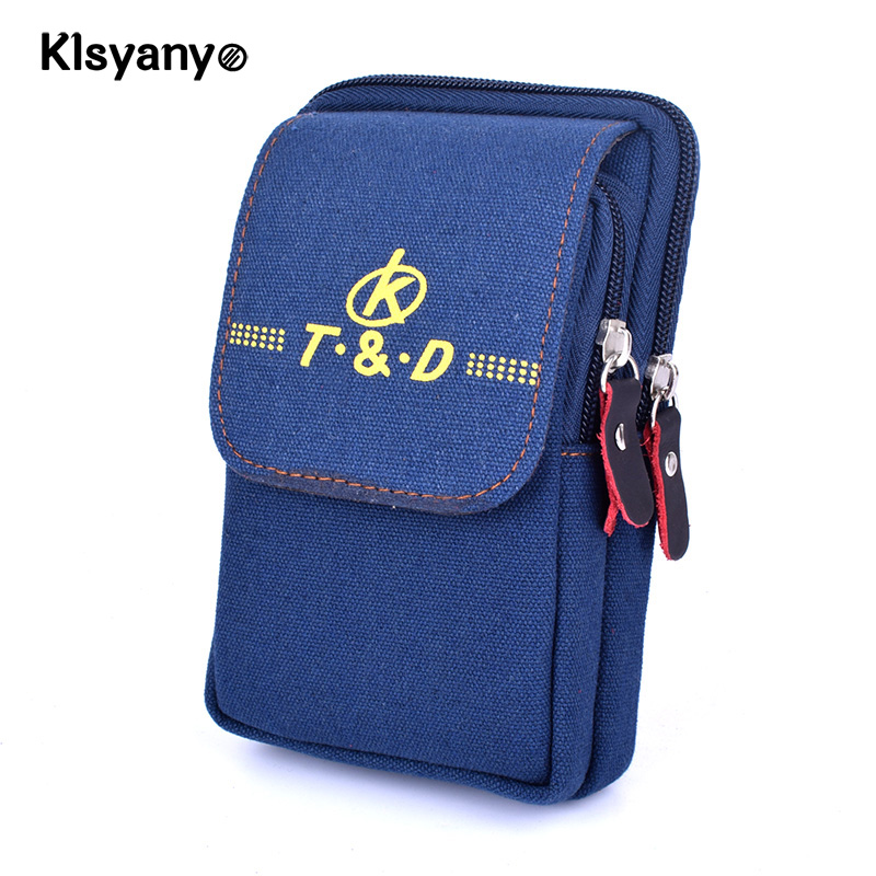 Klsyanyo Canvas Men Belt Bag Mobile Phone Pockets Women Waist Pack Travel Belt Wallets Coins Purse Fanny Pack Pochete Heuptas