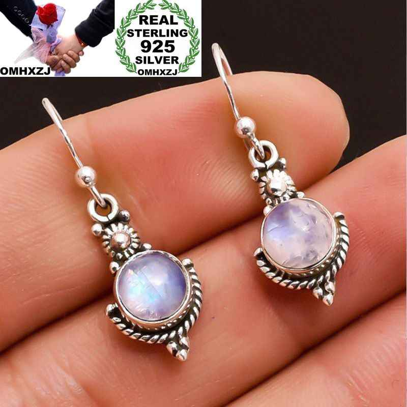 OMHXZJ Wholesale European Fashion Woman Girl Party Wedding Gift Vintage Round Moonstone S925 Sterling Silver Drop Earrings EA370