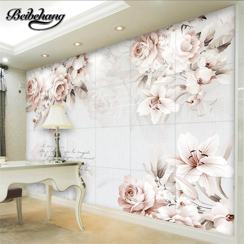 beibehang photo wall mural 3d wall paper Custom retro rose lily background wallpaper papel de parede 3d wallpaper for walls 3 d beibehang beautiful rose sea living room 3d flooring tiles papel de parede para quarto photo wall mural wallpaper roll walls 3d