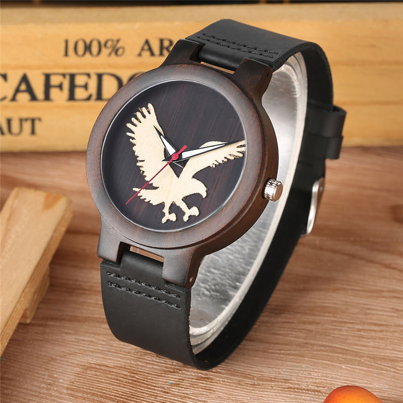 YISUYA Wooden Watches Quartz Red Sandalwood Ebony Maple Durable Leather Band Eagle Dial Natural Wood Watch reloj masculino in Quartz Watches from Watches