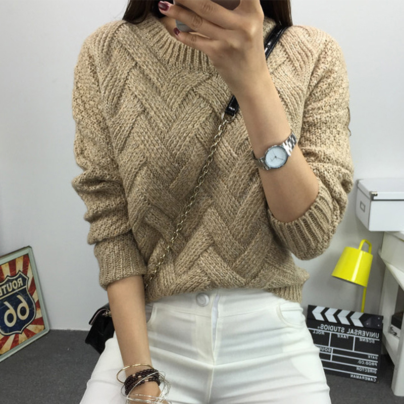 Women Autumn Winter Knitted Sweater Long Sleeve O-neck Female Casual Pullover Jumper 6 Colors Available