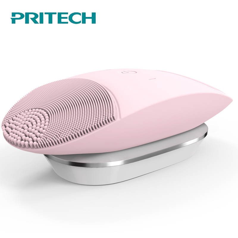 PRITECH Professional  Face Cleaner Inductive Charging Sonic Vibration  Electric Facial Cleaning Brush IPX 6 Silicone Skin Care