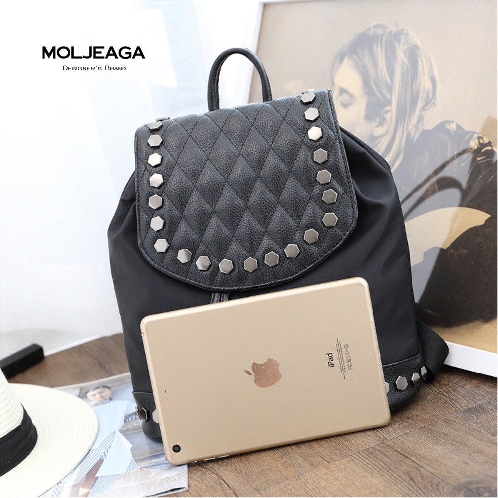 MOLJEAGA Korean version Diamond Lattice new shoulder bag female college wind rivets casual wild backpack travel