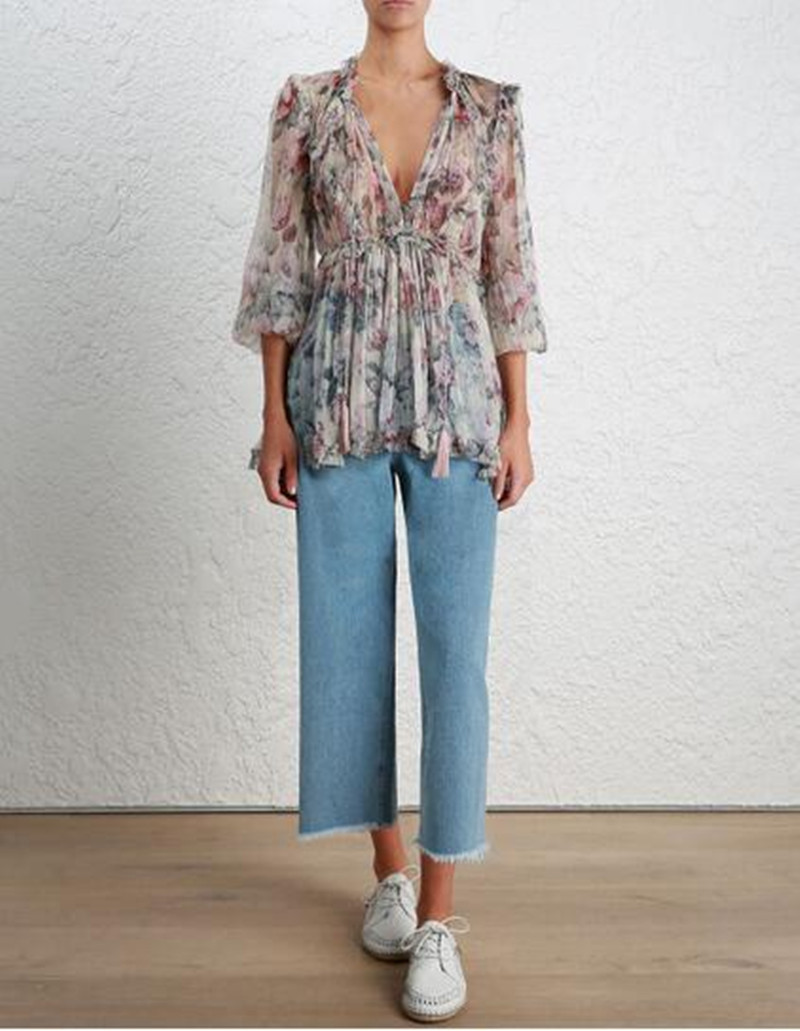 100% Silk Ruffle Blouse Women Vintage Long Sleeve Floral Thin Tie Neck Sexy Tops With Tassel Spring Summer